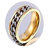 d965127ef4d1 Beydodo Anillo de Hombre Anillos Goticos Anillo Cadena Hombre Anillo Oro  Anillo Acero Inoxidable Oro Talla