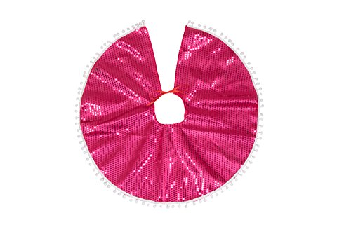 Clever Creations Pink Sequin Christmas Tree Skirt Pink Sequins with White Border | Traditional Festive Holiday Decor | Helps Contain Needle Mess | Perfect Size for Small Trees | 25