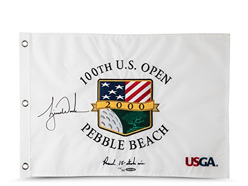 Tiger Woods Autographed & Embroidered 2000 U.S. Open Pin Flag, UDA - L500 ()