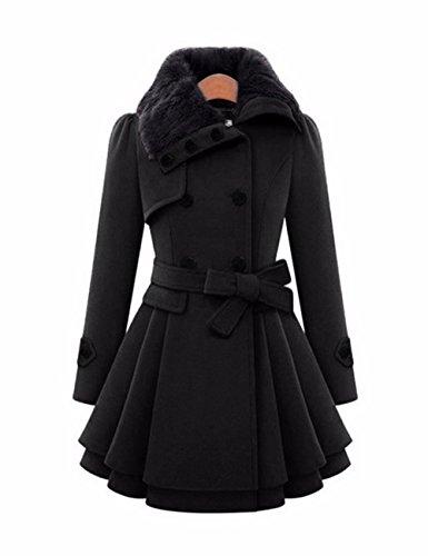Doble Lana Jacket Invierno De Gruesa Abrigo Solapa Coat Piel Las Imitación Negro Mujeres Trench Botonadura Moda Emma 7ZpzSq