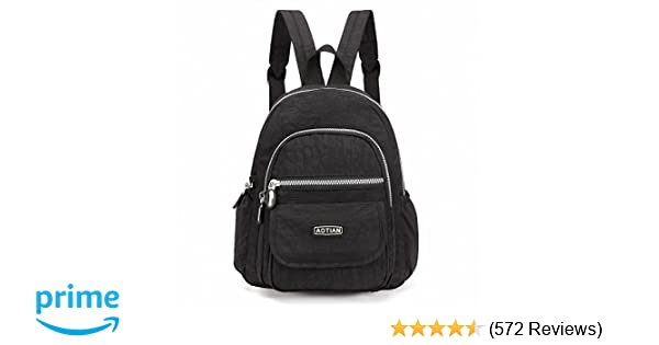 f2e03be68515 Amazon.com  AOTIAN Mini Nylon Women Backpacks Casual Lightweight Strong  Small Packback Daypack for Girls Cycling Hiking Camping Travel Outdoor Black   Sports ...