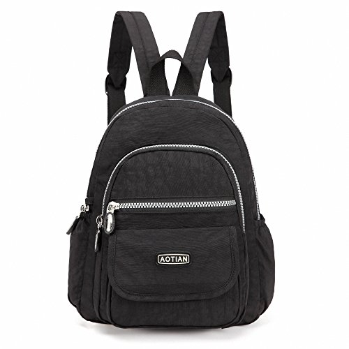 (AOTIAN Mini Nylon Women Backpacks Casual Lightweight Strong Small Packback Daypack for Girls Cycling Hiking Camping Travel Outdoor Black)