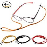 Halisis Eyeglass Holder - Eyeglass Chain - Premium Leather Glasses Strap - Glasses Retainer - Pack of 4 Plus Bonus Freebies