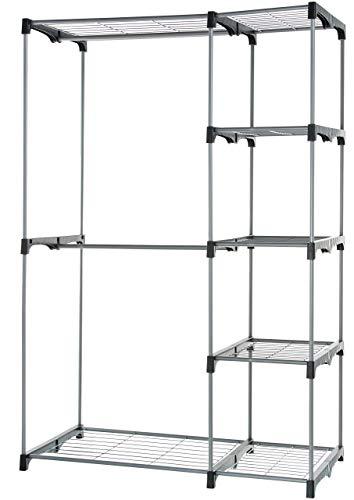 AmazonBasics Double Rod Freestanding Closet - Silver (Renewed)