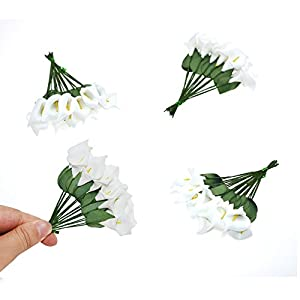 HZOnline Artificial Mini Calla Lily Flower Heads, Fake Floral Bouquet Head for Crafts Scrapbooking Garden Wedding DIY Making Bridal Garland Hair Clips Headbands Decoration (144pcs White) 3