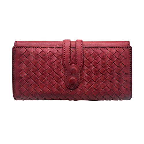 Wallets for Women Genuine Leather Handmade Ladies Wallet Purse Knitting Card Holder(831,Red)
