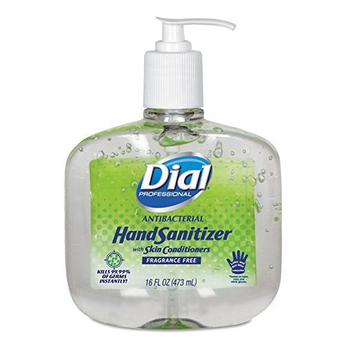 Dial Professional 00213 Gel Hand Sanitizer, 16oz, 8/CT, Clear by Dial