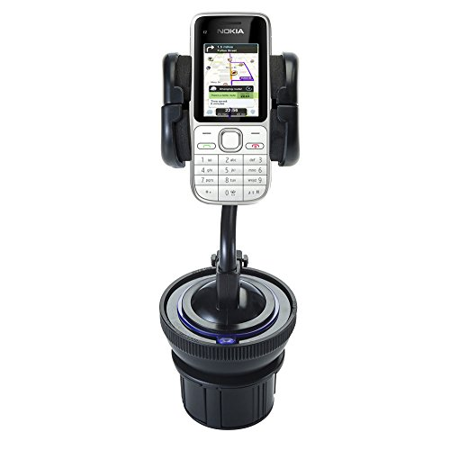 Price comparison product image Unique Auto Cupholder and Suction Windshield Dual Purpose Mounting System for Nokia C2-01 - Flexible Holder System Includes Two Mount Options