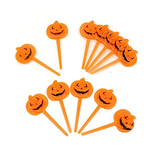 Tytroy 12-pack Transparent Jack O' Lantern Pumpkin Picks Toppers for Cupcakes Fruit Cocktails Desserts Cake Appetizers - Halloween Baking Treat (Orange Halloween Cake)