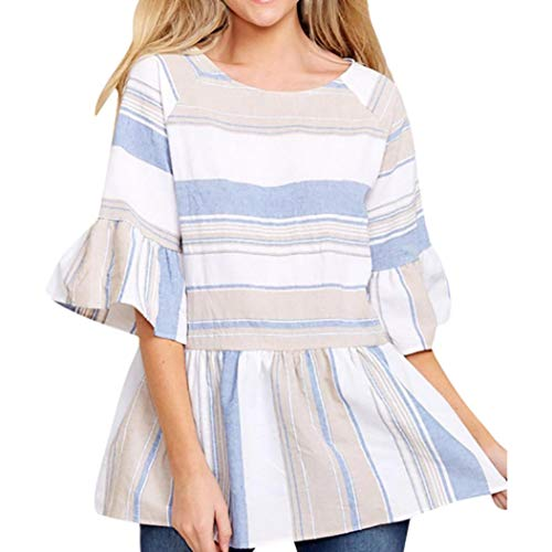 Clearance,Gillberry Women Casual Tops Multicolor Striped Stitch Flared Sleeved Sweatshirt Ruffled Tunic Blouse