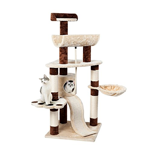 Nice Favorite 57″ Cat Activity Tree Condo Furniture for Kittens and Cats with Scratching Post and Rope, 6Tiers ☼
