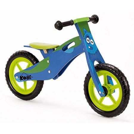 "Kobe Wooden Balance Bike ""Doggy"" ""Blue and Green"" Wood"