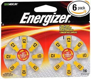 Energizer Zero Mercury Hear Aid Batteries AZ10DP - 16 ct, Pack of 6 ()