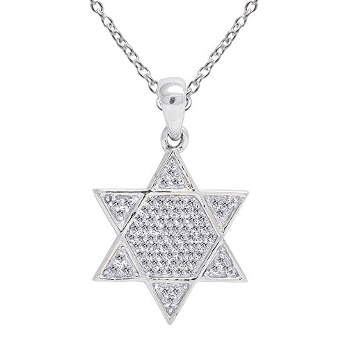 OMEGA JEWELLERY 0.20 Ct Round Cut White Natural Diamond 10K Solid Gold Cluster Star Of David Pendant Necklace (White -