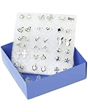 LALANG 18Pairs Simple Shapes Stud Earrings Love Flowers Cross Mixed Piercing Miniature Ear Accessories,Silver