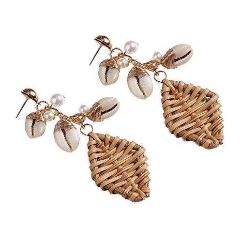 Women Rattan Earrings Bohemian Geometric Woven Pearl Shell Earrings Ladies Stylish Beach Drop Earrings (Coffee)