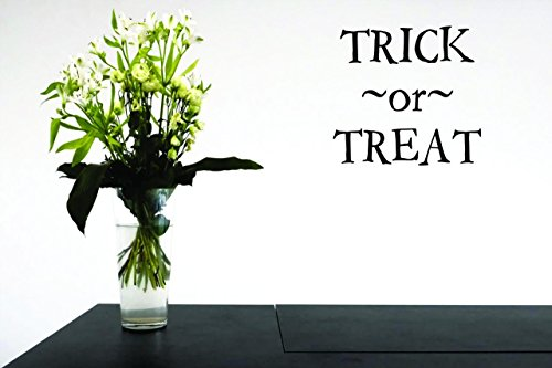 (Design with Vinyl Moti 2416 3 Decal - Peel & Stick Wall Sticker : Trick or Treat Halloween Holiday Quote Color: Black Size 18 Inches x 18)