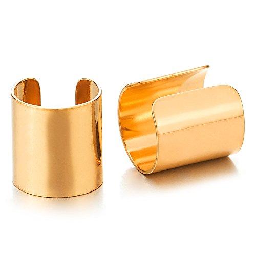 2pcs Gold Stainless Steel Ear Cuff Ear Clip Non-Piercing Clip On Earrings for Men Women