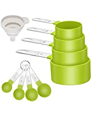 Measuring Cups and Spoons Set of 8 including 4 Cups, 4 Spoons, Stainless Steel Multi-Use Measuring Cups and Spoons for Dry or Liquid Ingredients (Grass Green)