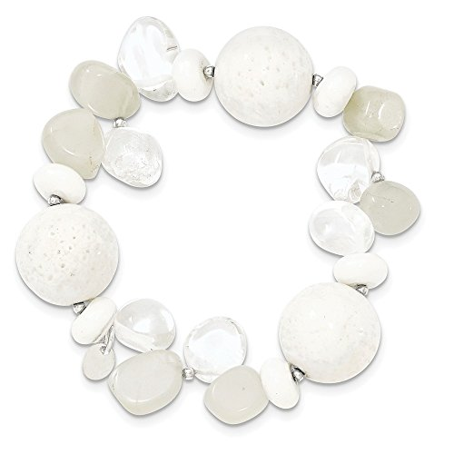 Sterling Silver Simulated Coral Dyed Jade Moonstone Rock Quartz Stretch Bracelet (Gold Bangles Jade White)