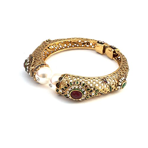 Bollywood Indian Ethnic Peacock Bangle Bracelet in Red Stone Red Green Enamel and Pearl Christmas Gift For Woman