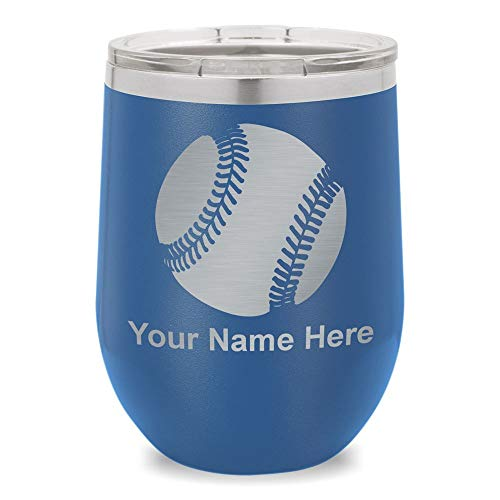 Wine Glass Tumbler, Baseball Ball, Personalized Engraving Included (Dark Blue)