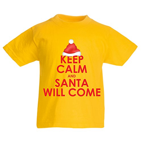 lepni.me T Shirts for Kids Keep Calm and Santa Will Come, Holiday Clothes and Christmas Vacation Outfits (3-4 Years Yellow Multi Color)]()