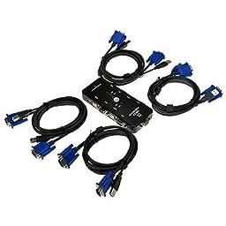 Gizga 4-port USB2.0 Manual KVM Switch Box w/4 Cable Sets