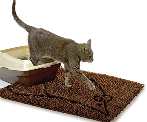 GT Kitty Litter Mat Trapper Brown Cat Trapping Cat Dirt Paws Sand Catcher Washable Corner Small Box Pad Carpet & Ebook by Easy 2 Find