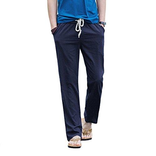 HOEREV Men Casual Beach Trousers linen  Summer Pants, Navy  Blue, Small