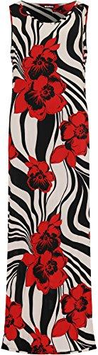 Wearall Femmes, Plus Sans Manches Taille Longue Robe Maxi Design Imprimé Floral Col Rond Rouge