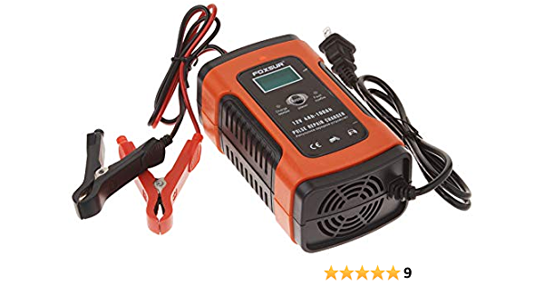 FOXSUR 12V 5A Pulse Repair LCD Battery Charger For Car Motorcycle Agm Gel Wet Le