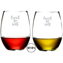 Treat Yo Self Set of 2 Stemless Wine Glasses Etched Engraved Monogrammed Hand Made