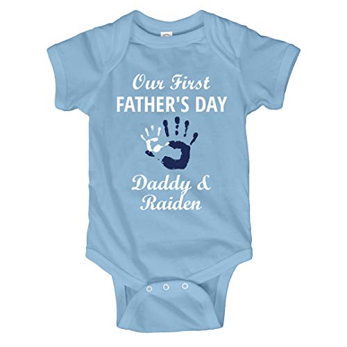 FUNNYSHIRTS.ORG Daddy & Raiden 1st Infant Bodysuit Light Blue