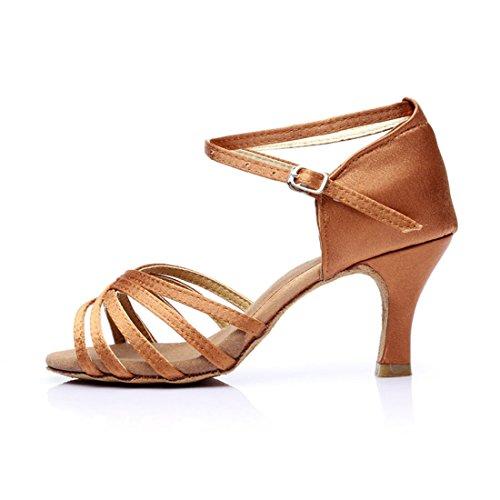 Latein Tanz Mädchen Braun 5 Schuhe Tanzschuhe mit Damen DorkasDE 7cm 7cm Absatz Absatz Tanzschuhe Latein Ballsaal q0gx5Fwt