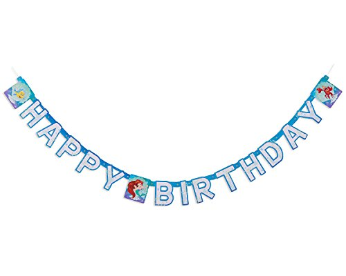 American Greetings Disney Ariel Party Supplies, Paper Birthday Party Banner, 1-Count -