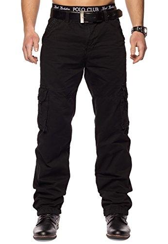 Herren Cargohose Indy Jones ID1153 Straight Fit , Farben:Schwarz;Größe Hosen:W32