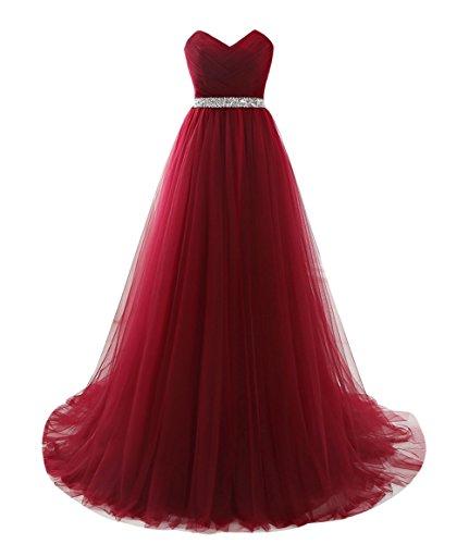 Linie Kleid Prinzessin CoutureBridal® Abendkleider Damen Abschlussball Weinrot A Tüll Lang Ballkleid Brautjungferkleid 47fqIxfw