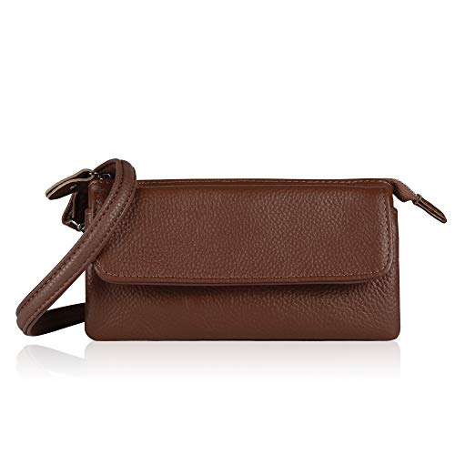 Price comparison product image Befen Leather Wristlet Clutch Smartphone Crossbody Wallet with Card Slots / Shoulder Strap / Wrist Strap (Brown Small)
