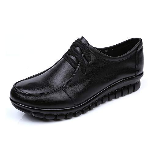 FLYRCX Zapatos de Cuero Solo Damas Suaves y cómodos Zapatos Planos Zapatos de Trabajo A