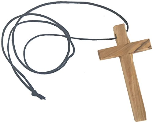 Thick hand carved olive wood simple Cross - necklace - (9cm or 3.5 inches) with Certificate