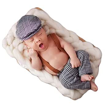 Baby Photography Props Newborn Boy Photo Shoot Outfits Infant Gentleman Suit Lattice Rompers Hats (Black+White)