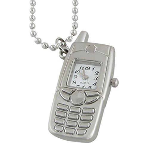 sourcingmap® Perlen Ketten Quadrat Darstellungsart Handy Entwurfs Halskette Uhr für Frauen
