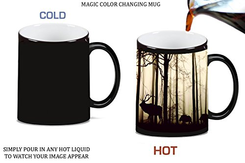Moonlight Photo (Elk Deer Silhouette in Woods Picture Magic Color Changing Ceramic Coffee Mug Tea Cup by Moonlight Printing)