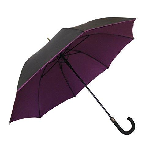 SMATI Stick Umbrella - Double Layers - French Design - Fashion - Sturdy - 8 fibreglass ribs Windproof - color (Plum-black)
