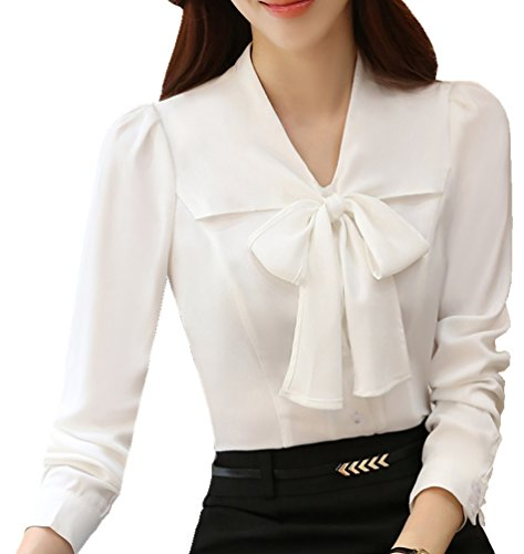 JHVYF Women's Chiffon Long Sleeve Blouse Bow-Tie V Neck Slim Fit Button Down Shirt White US 6(Asian Tag 2XL)]()