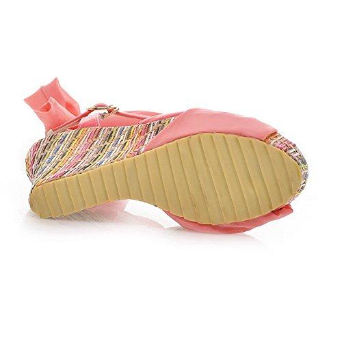 Amoonyfashion Femmes Ouvert Peep Toes Talons Hauts Plateforme Plate-forme Matériau Souple Pu Solide Sandales Avec Bandage Rose