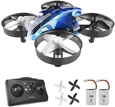 Opinión sobre ATOYX Mini Drone, RC Drone 2.4G 4 Canales 6-Axis Gyro, Quadcopter con Modo sin Cabeza, Altitud Hold, Alarma de Batería y 3 Modos de Velocidad, Regalos y Juguetes, AT-66B(Azul)
