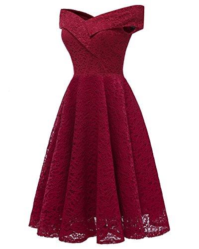 de Demoiselle Robe Robe KAXIDY Vin Femme Robe Elgante Cocktail de Soire Rouge Dentelle d'honneur Courte en wtqzvpdqx
