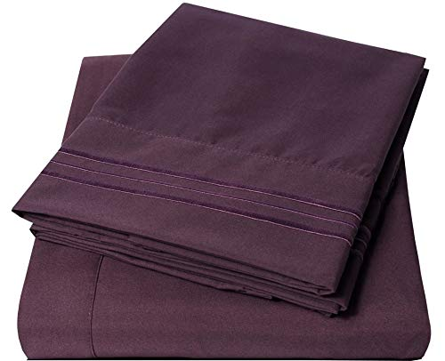Ruthy's Textile Bed Sheet Set – Hotel Luxury Brushed Microfiber 1800 Bedding – Wrinkle, Fade, Stain Resistant – Hypoallergenic, Soft – Deep Pockets Sheets & Pillow Case Set – 3 Piece (Purple, Twin)
